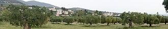 Yerakini - Village of Yerakini with the mountain Trikorfo on the left and the sea on the right