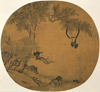 Yi Yuanji - A gibbon picture on a fan by Yi Yuanji