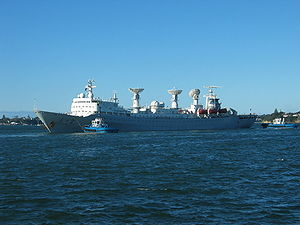 Yuanwang 2 in Auckland, New Zealand on 27 October 2005. The ship was resupplying after being at sea to support the Shenzhou 6 flight