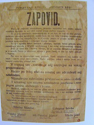Republic of Prekmurje - Curfew for Murska Sobota, signed by József Pusztai.