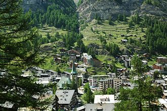 Zermatt - View of Zermatt with the main church (from the east side)