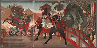Battle of Changban - Image: Zhang Fei on the Long Sloped Bridge Turning Away One Million Wei Troops with a Powerful Stare LACMA M.84.31.42a c