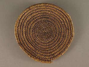 "Early Basketmaker II Era - Basketmaker II ""two rod and bundle"" basket (ca AD 1 to 700), Zion National Park"