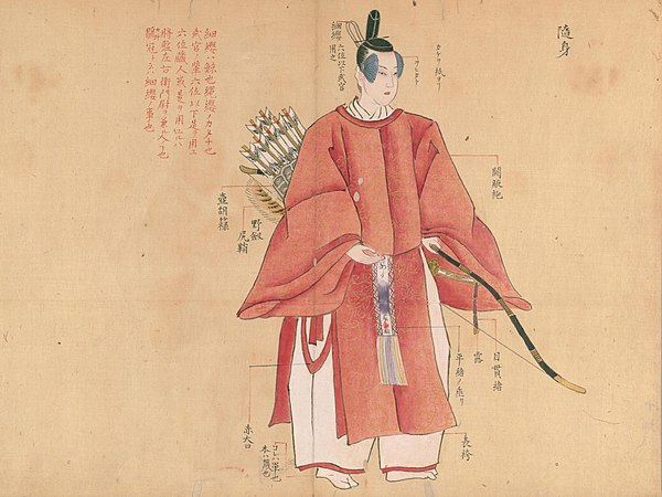 『装束着用之図』(国立国会図書館蔵)より、「随身」(前)の図。