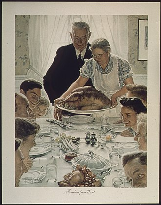 Communal meal - Freedom from Want by Norman Rockwell, an iconic image of an American Thanksgiving meal