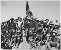 """""""Teddy's colts,"""" at the top of the hill which they captured in the battle of San Juan."""" Colonel Theodore Roosevelt and h - NARA - 542082.tif"""