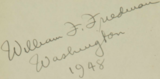 """William F. Friedman"" signature detail, from- Riverbank Pubs inscription by William Friedman (cropped).png"
