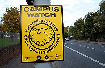 English: 'Campus Watch' sign, Belfast One of d...