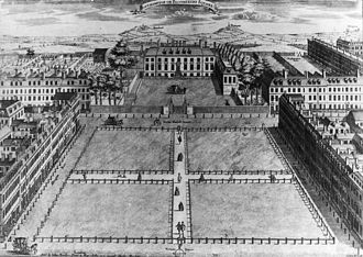 Bedford Estate - Looking north across Bloomsbury Square on the Bedford Estate with Bedford House behind, c1725, London town house of the Dukes of Bedford
