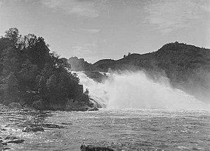 Nea-Nidelvvassdraget - View of the Øvre Leirfoss waterfall in 1880