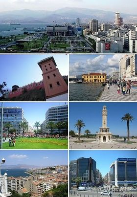 From top to bottom, left to right: Konak in İzmir, Historical Elevator in Karataş, Pasaport Wharf in İzmir, Gündoğdu Square, İzmir Clock Tower in Konak Square, A view of the city from Historical Elevator, Karşıyaka.