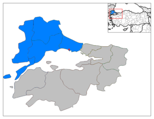 East Thrace - East Thrace (blue) within the Marmara Region of Turkey