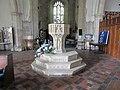 -2020-09-10 Stone baptismal font, Saint Mary's Church, Stalham (2).JPG