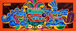"Ces53 - ""COMEBACK OF THE CHAVIN MINDED FUNNY ONE"" Painting on canvas,by Ces53"
