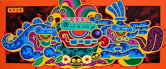 """Ces53 - """"COMEBACK OF THE CHAVIN MINDED FUNNY ONE"""" Painting on canvas,by Ces53"""