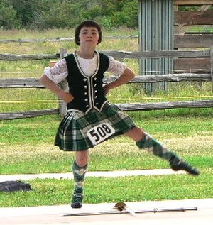 Scottish highland dance - A young Highland dancer demonstrates her Scottish sword dance at the 2005 Bellingham (Washington) Highland Games