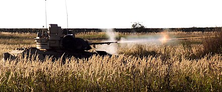 A Bradley Fighting Vehicle fires it's 25mm main gun as part of D (Diablo) Troop's live fire exercise in Slovakia. 1-7 CAV holds CALFEX hosted by Slovakian Military.jpg