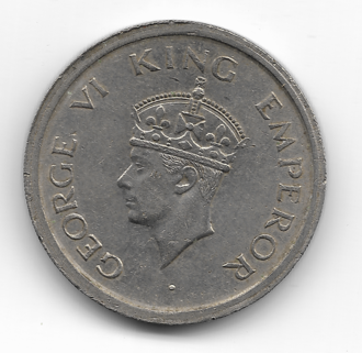 Coins of the Indian rupee - One rupee coin (George VI series) 1957, observe