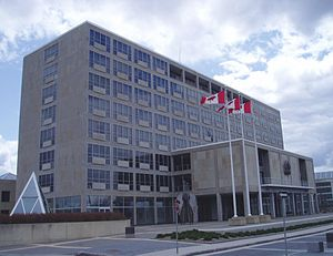 Global Affairs Canada - John G. Diefenbaker Building, 111 Sussex Avenue, is home to most of the employees working on international trade. It also hosts a number of secondary and support offices