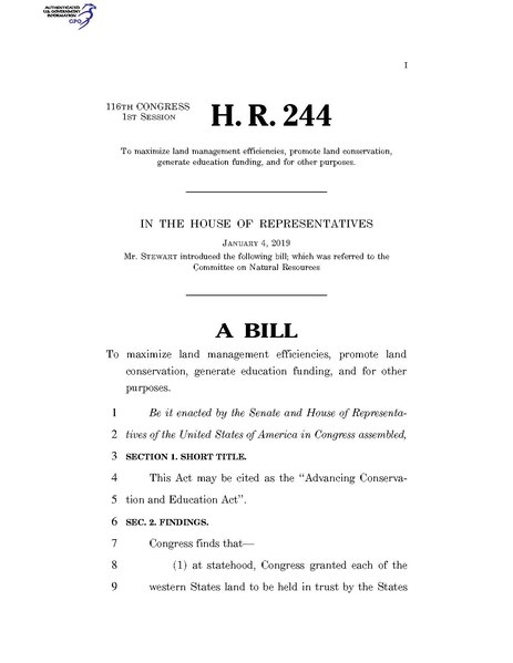 File:116th United States Congress H. R. 0000244 (1st session) - Advancing Conservation and Education Act.pdf