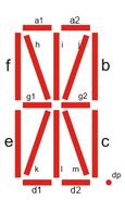 The individual segments of a 16-segment display