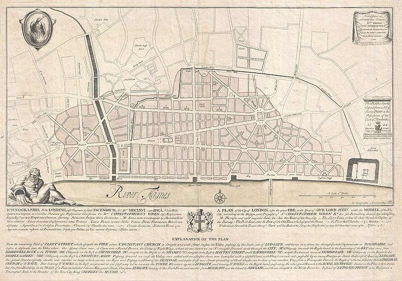 Christopher Wren's rejected plan for the rebuilding of London.