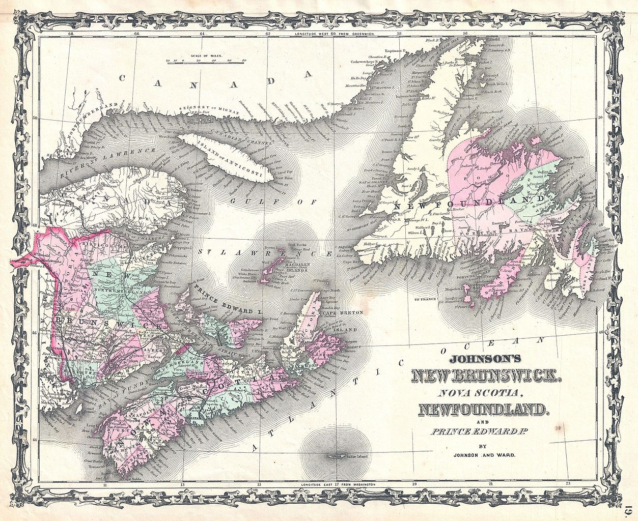 file 1862 johnson map of new brunswick  nova scotia and