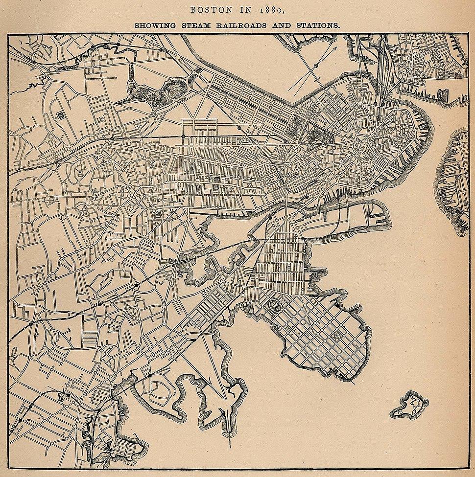 1880 Boston railroads map