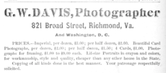 1881 G W Davis photographer 821 Broad Street in Richmond Virginia advert.png