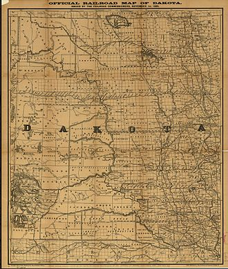 Minot, North Dakota - Dakota Territory circa 1886, showing Burlington, at the time the county seat, and Minot, which was a smaller, unincorporated village.