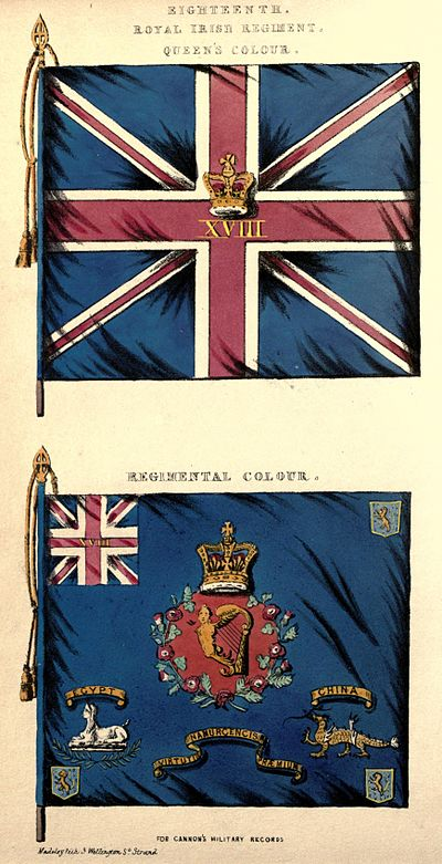 Colours of the Royal Irish Regiment (1848) 18th Foot colours.jpg