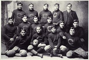 A football team picture, men in sweaters