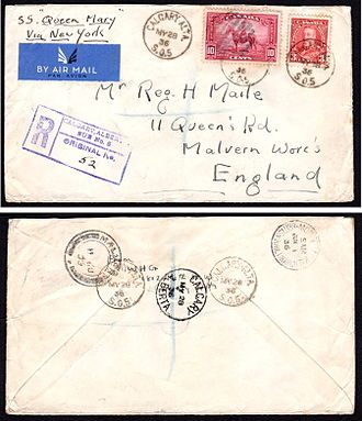 Registered mail - A 1936 registered letter from Canada to Great Britain sent via the RMS Queen Mary.