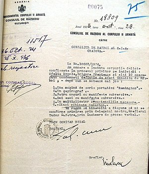 Grigore Preoteasa - 1936 Army memo, announcing the forwarding of the corpus delicti for Preoteasa's conviction: A Remington portable typewriter, a hectograph, 4 baskets of subversive manifestos, a mimeograph and 5 cartboard stencils.