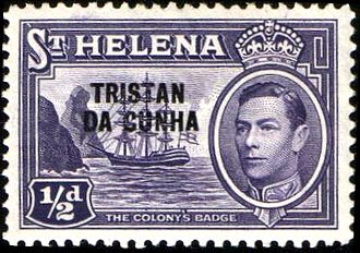 History of Tristan da Cunha - A 1938 stamp of Saint Helena overprinted for use in Tristan da Cunha from 1952.