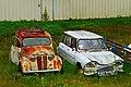1957-1960 Renault Juvaquatre and 1965 Citroën Ami 6 Break, Saint-Cirq-Madelon, Lot, France (8482289224).jpg