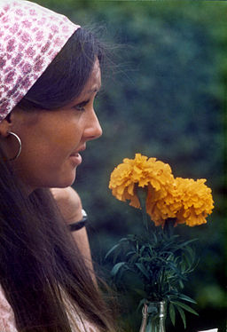 1970s girl with flower