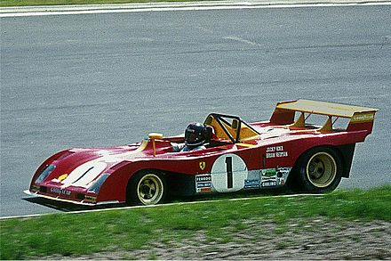 A 312PB (driven by Jacky Ickx) during the team's final year in the World Sportscar Championship 1973-05-27 Jacky Ickx, Ferrari 312P.jpg