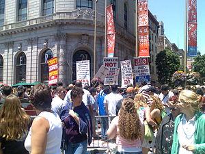 Societal attitudes toward homosexuality - Protesters at a 2006 gay pride event. San Francisco, United States.