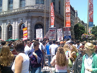 Societal attitudes toward homosexuality - Protesters at a 2006 gay pride event. San Francisco, United States.