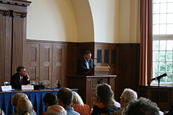Marc Headley speaking at a conference on Scientology, Hamburg, 2008. Image: anonymous.censor.