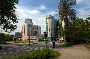 Centrum, Szczecin - PAZIM (left) and ZUS building (right)