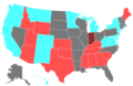 2010 United States Senate Election by Change of the Majority Political Affiliation of Each State's Delegation From the Previous Election.png