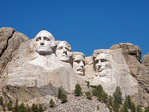 Historical rankings of presidents of the United States - In the 1920s, sculptor Gutzon Borglum and President Calvin Coolidge selected George Washington, Thomas Jefferson, Theodore Roosevelt, and Abraham Lincoln to appear on Mount Rushmore; it later became an iconic symbol of presidential greatness