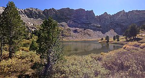 Castle Lake (Nevada) - Image: 2013 09 18 13 56 28 Panorama of Castle Lake from the north end in Kleckner Canyon, Nevada