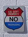 "2014-10-10 14 52 59 ""U.S. GOVT. PROPERTY - NO TRESPASSING"" sign at the Mount Lewis FAA Radar Station on Mount Lewis in Lander County, Nevada.JPG"