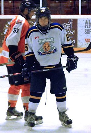 Western Ontario Junior C Hockey League - Wingham Ironmen player during 2014 Clarence Schmalz Cup playoffs.
