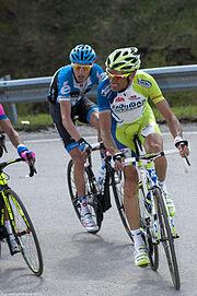 Ivan Basso impegnato sul Passo Giau al Giro d'Italia 2012