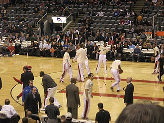 2010–11 Toronto Raptors season - The 2010–11 Raptors warming up prior to a home game against the Cleveland Cavaliers at the Air Canada Centre