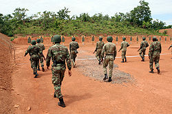 Beninese Army soldiers on range at Bembèrèkè